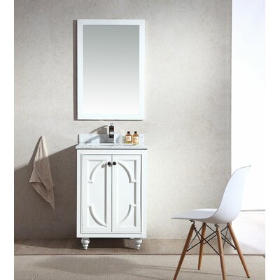 Odyssey 24 Single Bathroom Vanity Set with Mirror Top Finish: White Carrera, Base Finish: White