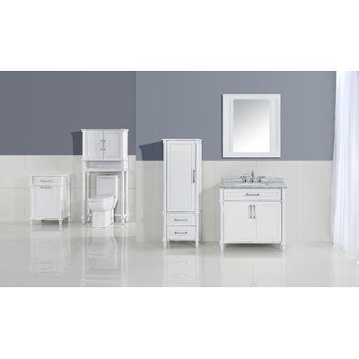 Continental 36 Single Bathroom Vanity Set with Mirror Top Finish: White Carrera, Base Finish: White