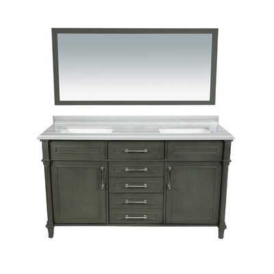 Continental 60 Double Bathroom Vanity Set with Mirror Base Finish: Maple Gray, Top Finish: White Stripes