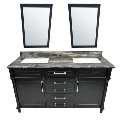 Continental 60 Double Bathroom Vanity Set with Mirror Base Finish: Espresso, Top Finish: Black Wood