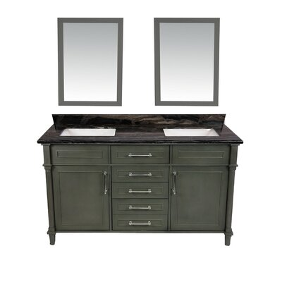 Continental 60 Double Bathroom Vanity Set with Mirror Base Finish: Maple Gray, Top Finish: Black Wood