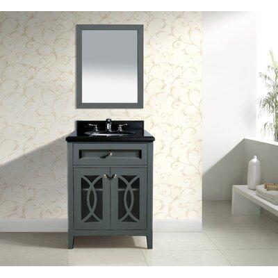 Grazia 30 Single Bathroom Vanity Set with Mirror Base Finish: Gray, Top Finish: Absolute Black