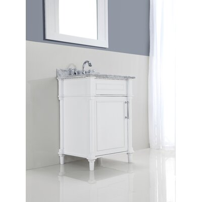 Continental 24 Single Bathroom Vanity Set with Mirror Base Finish: White