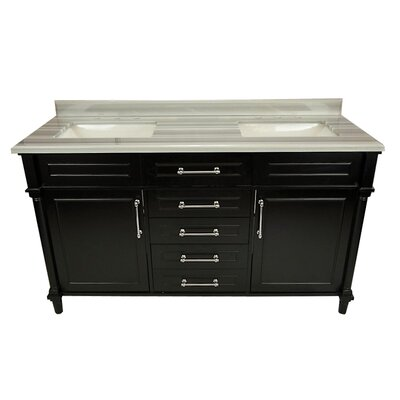 Continental 60 Double Bathroom Vanity Set Base Finish: Espresso, Top Finish: White Stripes