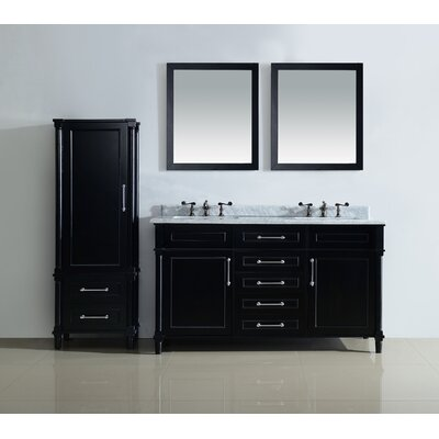Continental 60 Double Bathroom Vanity Set with Mirror Top Finish: White Carrera, Base Finish: Espresso