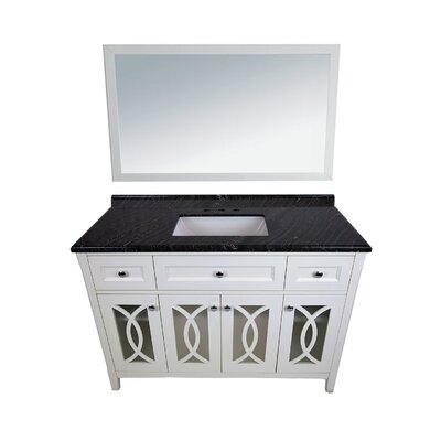Grazia 49 Single Bathroom Vanity Set with Mirror Base Finish: White, Top Finish: Black Wood