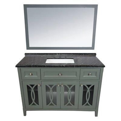Grazia 49 Single Bathroom Vanity Set with Mirror Base Finish: Gray, Top Finish: Black Wood