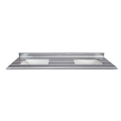 Continental 60 Double Bathroom Vanity Top Top Finish: Gray/White Stripes