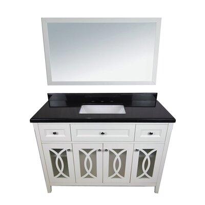 Grazia 49 Single Bathroom Vanity Set with Mirror Top Finish: Absolute Black, Base Finish: White