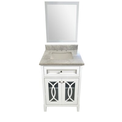 Grazia 30 Single Bathroom Vanity Set with Mirror Base Finish: White, Top Finish: White Carrera