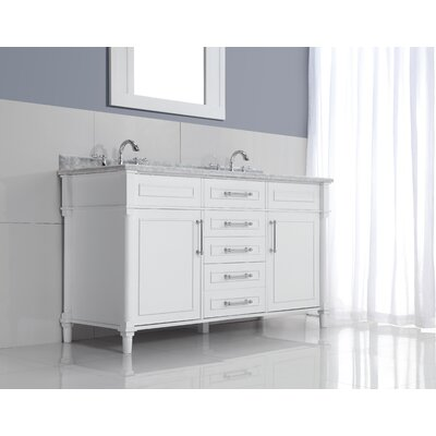 Continental 60 Double Bathroom Vanity Set with Mirror Top Finish: White Carrera, Base Finish: White