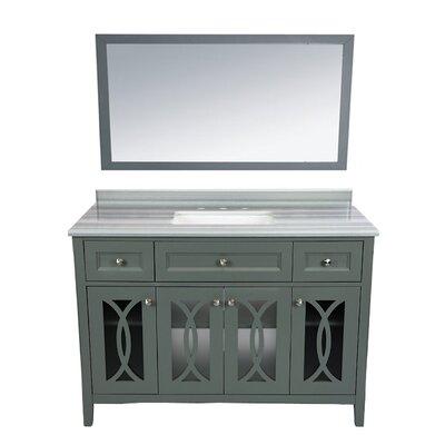 Grazia 49 Single Bathroom Vanity Set with Mirror Base Finish: Gray, Top Finish: White Stripes