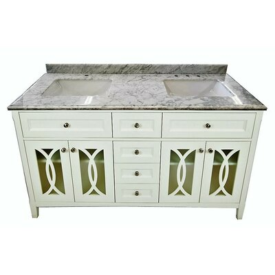 Grazia 60 Double Bathroom Vanity Set Base Finish: White, Top Finish: White Carrera