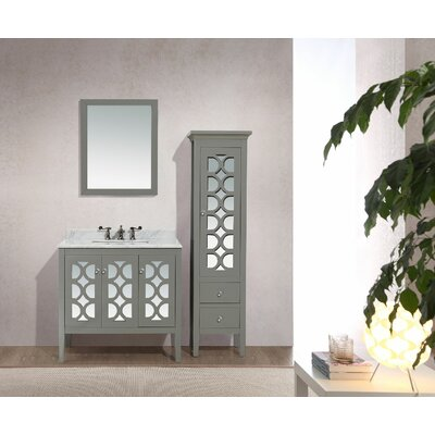Mediterraneo 36 Single Bathroom Vanity Set Base Finish: Gray, Top Finish: White Stripes