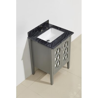 Mediterraneo 24 Single Bathroom Vanity Set Base Finish: Gray, Top Finish: Black Wood