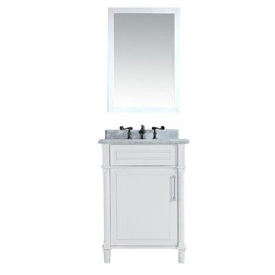 Continental 24 Single Bathroom Vanity Set with Mirror Base Finish: White