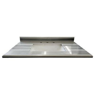 Mediterraneo 36 Single Bathroom Vanity Top Top Finish: Gray/White Stripes