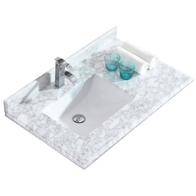 Odyssey 36 Single Bathroom Vanity Top Top Finish: White Carrera
