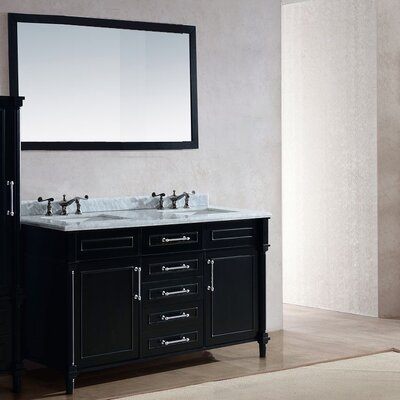 Continental 60 Double Bathroom Vanity Set with Mirror Base Finish: White, Top Finish: Black Wood