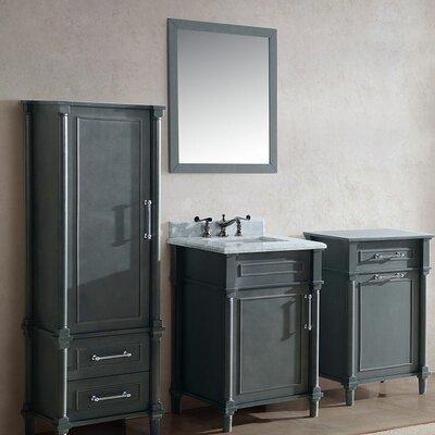 Continental 24 Single Bathroom Vanity Set with Mirror Base Finish: Maple Gray