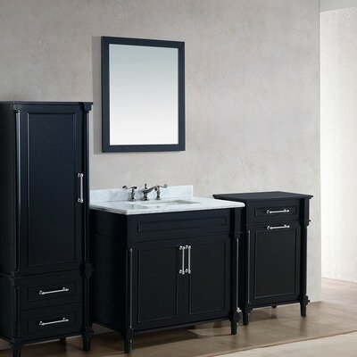 Continental 36 Single Bathroom Vanity Set with Mirror Base Finish: White, Top Finish: Black Wood