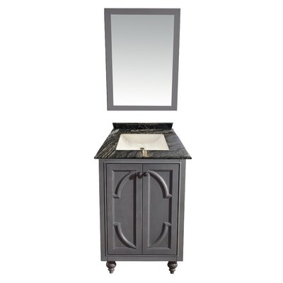 Odyssey 24 Single Bathroom Vanity Set with Mirror Base Finish: Maple Gray, Top Finish: Black Wood