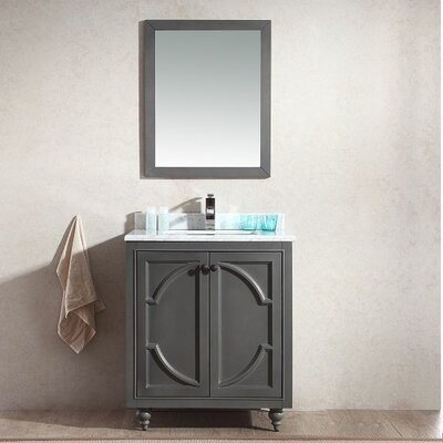 Odyssey 30 Single Bathroom Vanity Set with Mirror Base Finish: Maple Gray, Top Finish: Black Wood