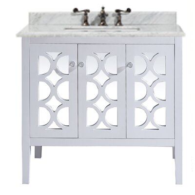 Mediterraneo 36 Single Bathroom Vanity Set Base Finish: White, Top Finish: White Carrera
