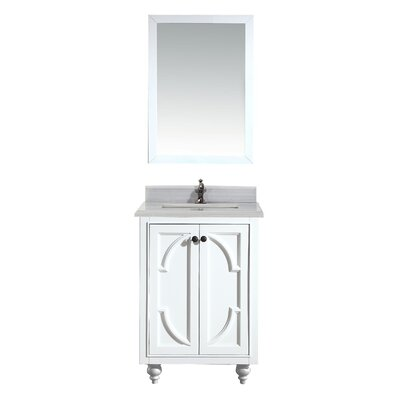 Odyssey 24 Single Bathroom Vanity Set with Mirror Base Finish: White, Top Finish: White Stripes
