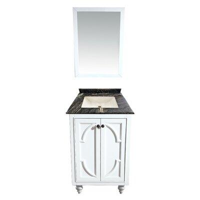 Odyssey 24 Single Bathroom Vanity Set with Mirror Base Finish: White, Top Finish: Black Wood