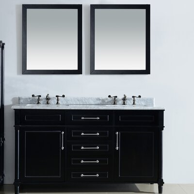 Continental 60 Double Bathroom Vanity Set with Mirror Top Finish: White Carrera, Base Finish: Maple Gray