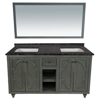 Odyssey 60 Double Bathroom Vanity Set with Mirror Top Finish: Black Wood, Base Finish: Maple Gray