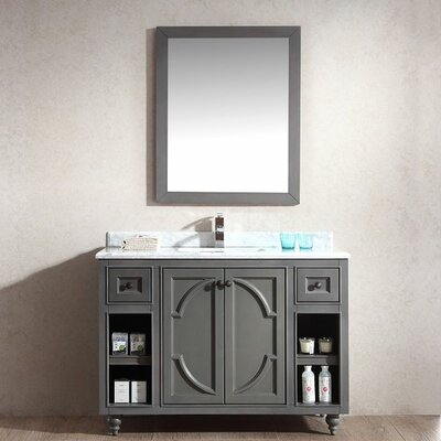 Odyssey 48 Single Bathroom Vanity Set with Mirror Base Finish: Maple Gray, Top Finish: Black Wood