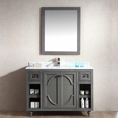 Odyssey 48 Single Bathroom Vanity Set with Mirror Base Finish: Maple Gray, Top Finish: White Stripes