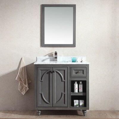 Odyssey 36 Single Bathroom Vanity Set with Mirror Base Finish: White, Top Finish: Black Wood