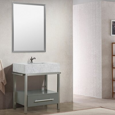Denali 30 Single Bathroom Vanity Set with Mirror Base Finish: Gray