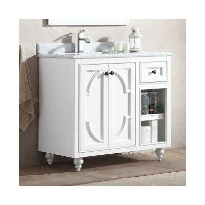Odyssey 36 Single Bathroom Vanity Set Top Finish: White Carrera, Base Finish: White