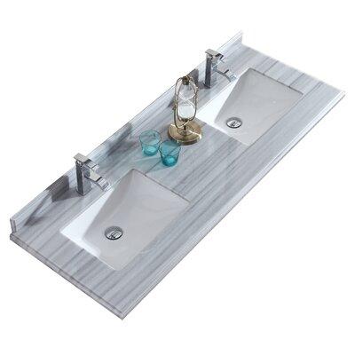 Wimbledon 60 Double Bathroom Vanity Top Top Finish: Gray/White Stripes