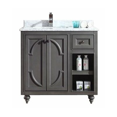 Odyssey 36 Single Bathroom Vanity Set Base Finish: White, Top Finish: Black Wood