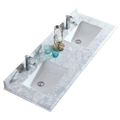 Odyssey 60 Double Bathroom Vanity Top Top Finish: White Carrera