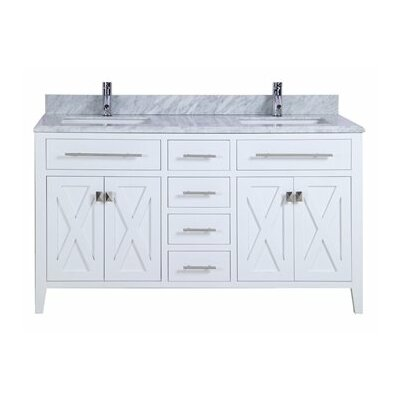Wimbledon 60 Double Bathroom Vanity Set Base Finish: White