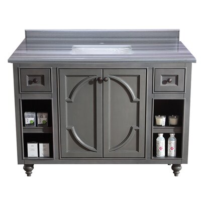 Odyssey 48 Single Bathroom Vanity Set Base Finish: Maple Gray, Top Finish: White Carrera