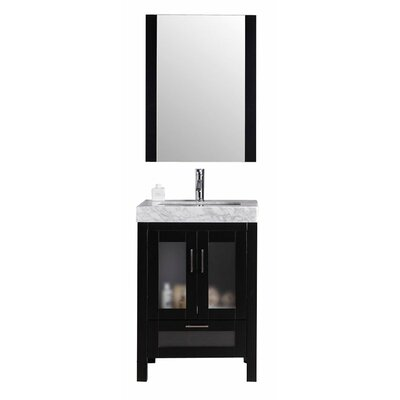 Rushmore 24 Single Bathroom Vanity Set with Mirror Base Finish: Espresso