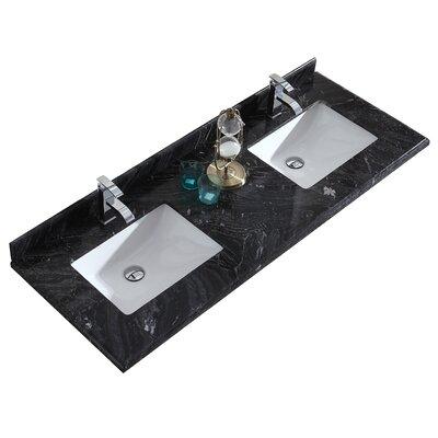 Odyssey 60 Double Bathroom Vanity Top Top Finish: Black Wood