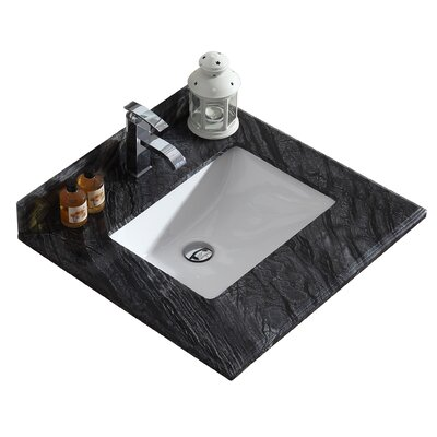Wimbledon 24 Single Bathroom Vanity Top Top Finish: Black Wood