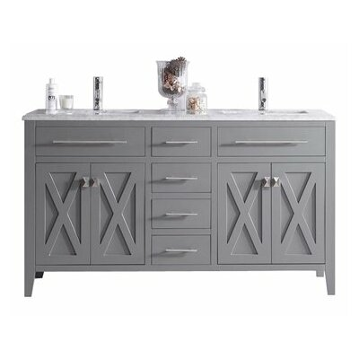 Wimbledon 60 Double Bathroom Vanity Set Base Finish: Gray