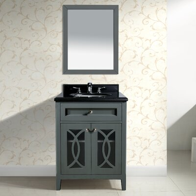 Grazia 30 Single Bathroom Vanity Set with Mirror Base Finish: White, Top Finish: Black Wood