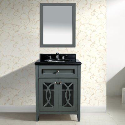 Grazia 30 Single Bathroom Vanity Set with Mirror Base Finish: Gray, Top Finish: Black Wood