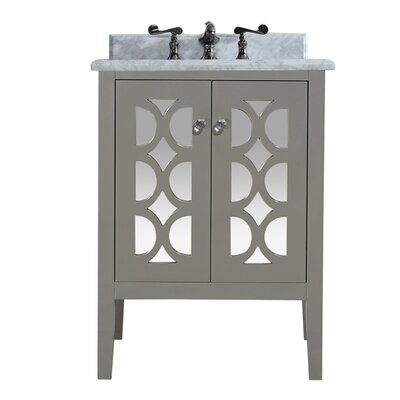Mediterraneo 24 Single Bathroom Vanity Set Base Finish: White, Top Finish: White Stripes