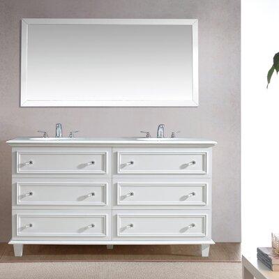 Luna 60 Double Bathroom Vanity Set with Mirror Base Finish: White